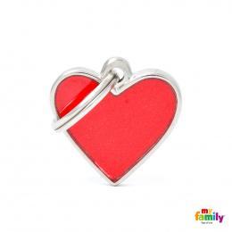 Známka My Family Reflective srdce malá červená