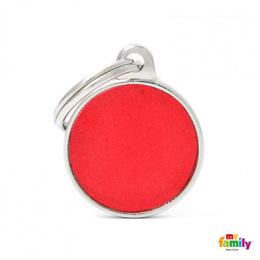 Známka My Family Reflective kulatá malá červená