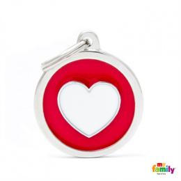 Známka My Family Charms srdce kolečko se srdcem velké červené