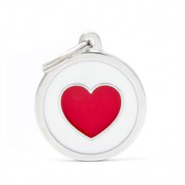 Známka My Family Charms kolečko se srdcem velké bílé