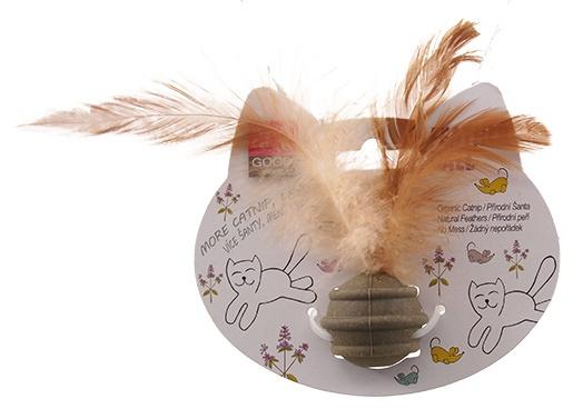 Hračka Magic Cat Catnip míček s 3 pírky 3,5cm