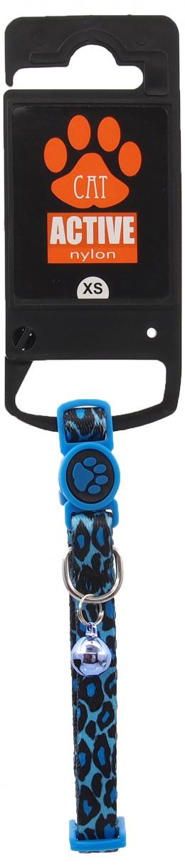 Obojek Active Cat nylon XS leopard modrý  1x19-31cm