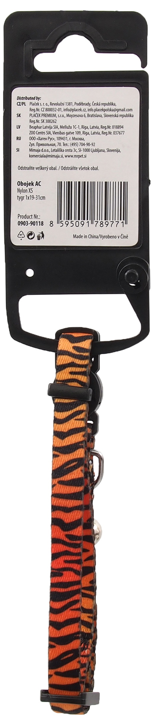 Obojek Active Cat nylon XS tygr 1x19-31cm