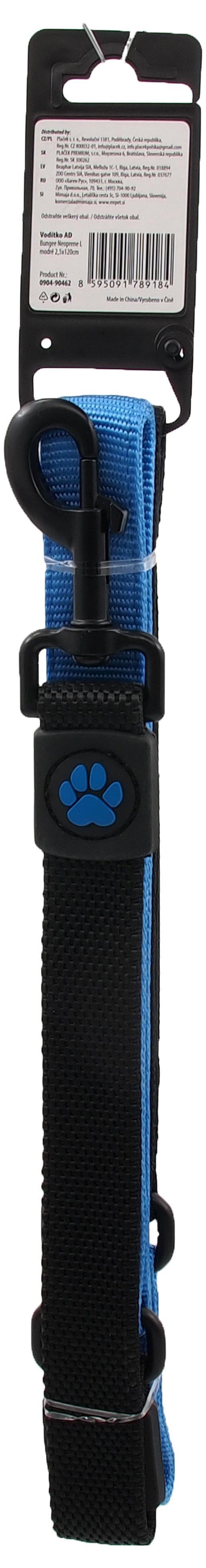 Vodítko Active Dog Bungee Neoprene L modré 2,5x120cm