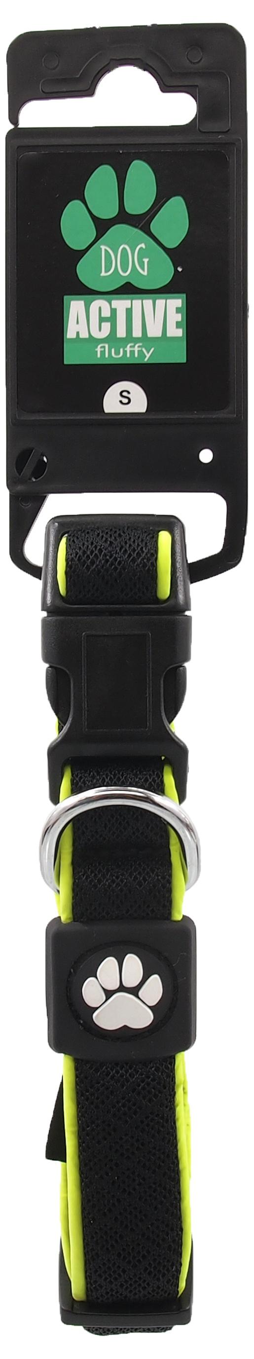 Obojek Active Dog Fluffy Reflective S černý 2x28-40cm