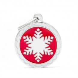 Známka My Family Charms sněhová vločka velká kulatá červená