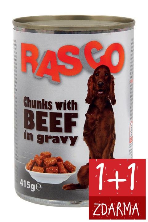 Konzerva Rasco hovězí kousky ve šťávě 415g 1+1 zdarma