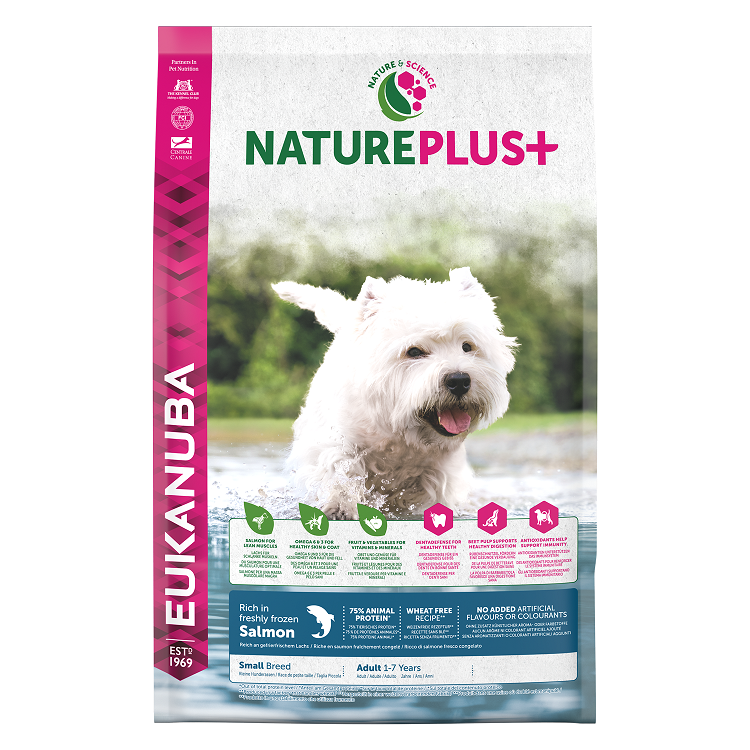 Eukanuba Nature Plus+ Adult Small Breed Rich in freshly frozen Salmon 14kg  + dárek zdarma