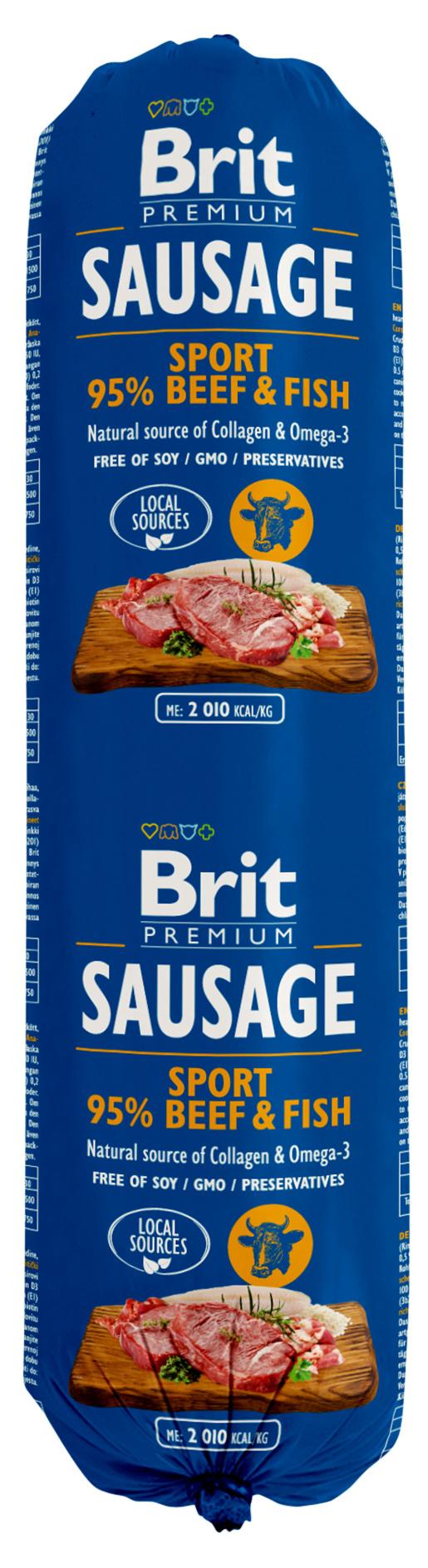 BRIT Sausage Beef&Fish-Sport formula 800g 5+1 ZDARMA