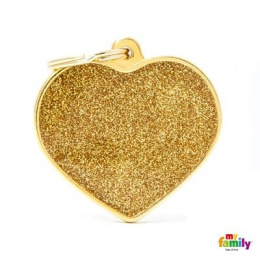Známka My Family Shine srdce velké zlaté