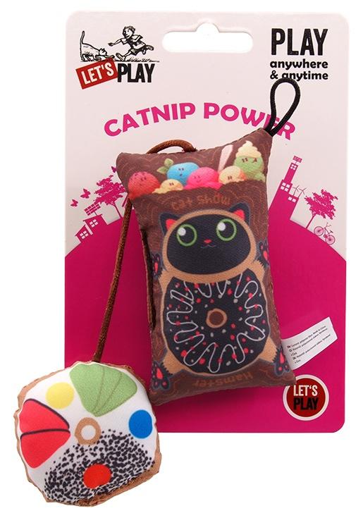 Hračka Let´s Play polštářek motiv kočka s catnip 9cm