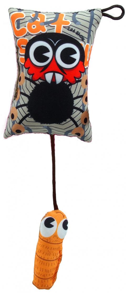 Hračka Let´s Play polštářek motiv pavouk s catnip 9cm