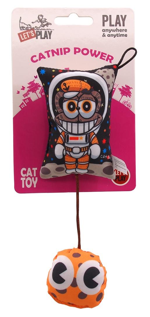 Hračka Let´s Play polštářek motiv panák s catnip 9cm