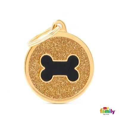 Známka My Family Shine kolečko s kostí velké zlaté