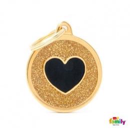 Známka My Family Shine kolečko se srdcem velké zlaté