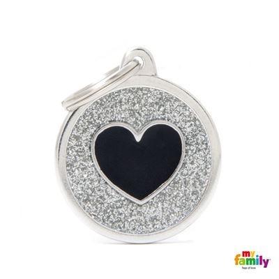 Známka My Family Shine kolečko se srdcem velké stříbrné