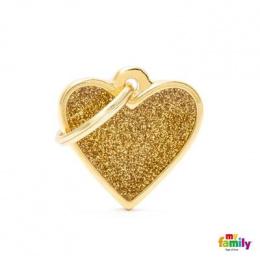 Známka My Family Shine srdce malé zlaté