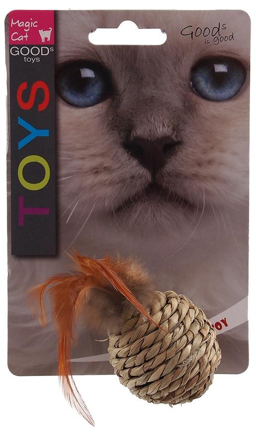 Hračka Magic Cat míček mořská tráva s pírky 9cm