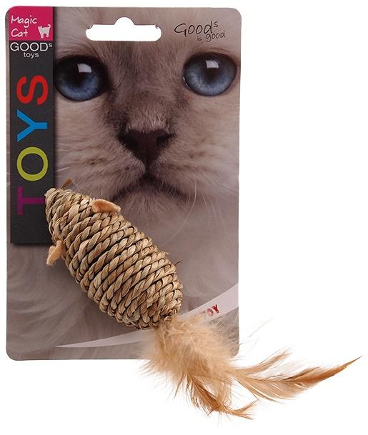 Hračka Magic Cat myška mořská tráva s pírky 18cm