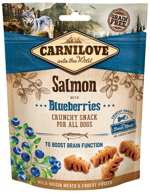 Carnilove Dog Crunchy Snack Salmon with Blueberries 200g title=