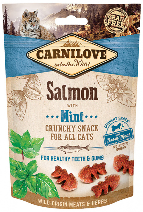 Carnilove Cat Crunchy Snack Salmon with Mint with fresh meat 50g title=