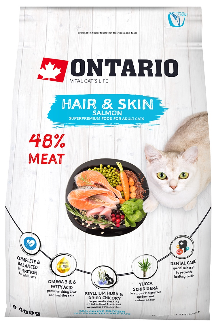 Ontario Cat Hair & Skin 0,4 kg