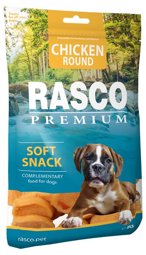 Pochoutka Rasco Premium kolečka z kuřecího masa 80g title=