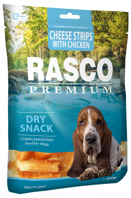 Pochoutka Rasco Premium proužky sýru obalené kuřecím masem 230g
