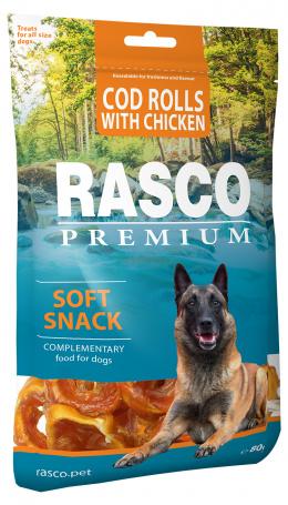 Pochoutka Rasco Premium tresčí rolky obalené kuřecím masem 80g