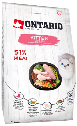 Ontario Kitten Chicken 2 kg + LED míček Magic Cat ZDARMA