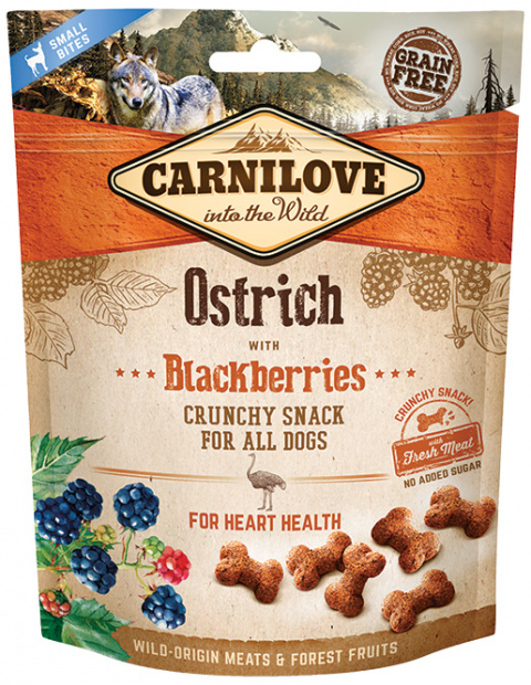 Carnilove Dog Crunchy Snack Ostrich with Blackberries 200g title=