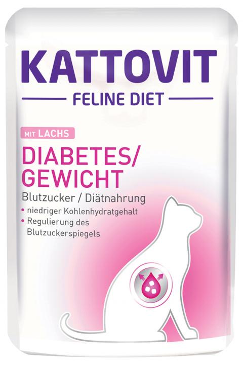 Kapsička Kattovit Diabetes losos 85g title=