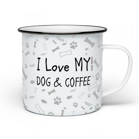 Plecháček bílý I LOVE MY DOG AND COFFEE