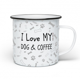 Plecháček bílý I LOVE MY DOG AND COFFEE