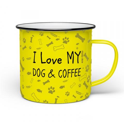 Plecháček žlutý I LOVE MY DOG AND COFFEE