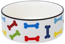 Miska Dog Fantasy keramická potisk barevné kosti bílá 20,5x7,5cm 1,61l