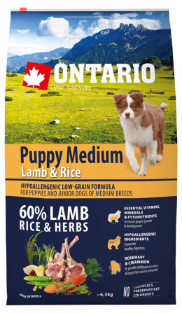 Ontario Puppy Medium Lamb & Rice 6,5 kg