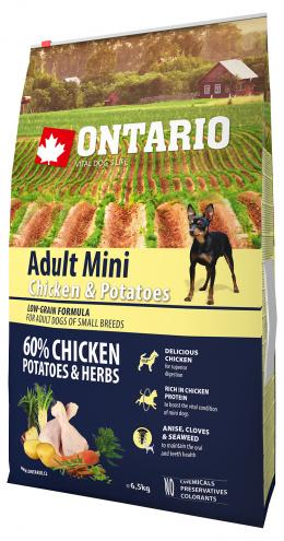 Ontario Adult Mini Chicken & Potatoes 6,5kg  + svítící návlek Dog Fantasy ZDARMA
