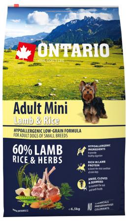 Ontario Adult Mini Lamb & Rice 6,5kg + svítící návlek Dog Fantasy ZDARMA