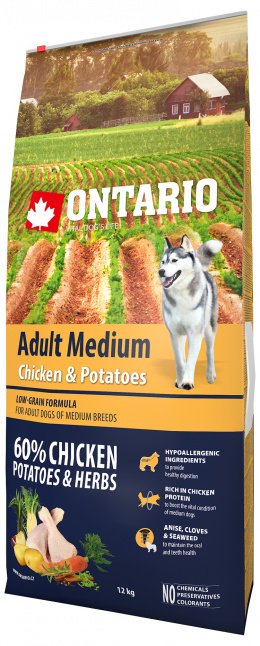 Ontario Adult Medium Chicken & Potatoes 12kg + 6 konzerv zdarma