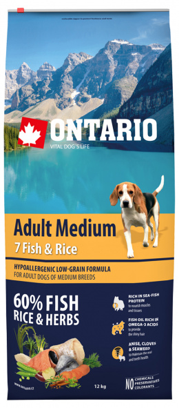Ontario Adult Medium Fish & Rice 12kg + 6 konzerv zdarma