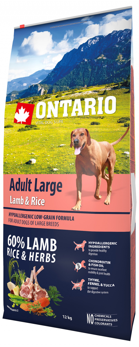 Ontario Adult Large Lamb & Rice 12kg  title=