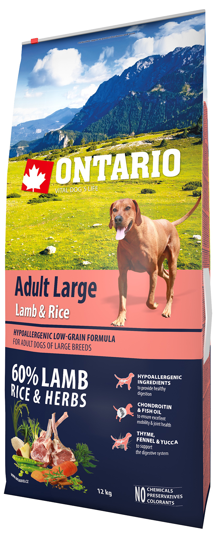 Ontario Adult Large Lamb & Rice 12kg