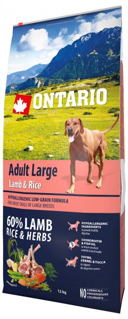 Ontario Adult Large Lamb & Rice 12kg  + svítící návlek Dog Fantasy ZDARMA