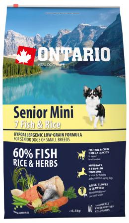 Ontario Senior Mini Fish & Rice 6,5 kg + svítící návlek Dog Fantasy ZDARMA