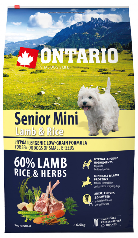 Ontario Senior Mini Lamb & Rice 6.5kg