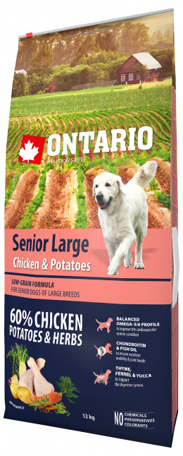 Ontario Senior Large Chicken & Potatoes 12kg  + 6x konzerva ZDARMA