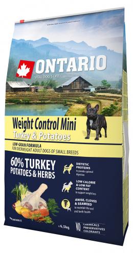 Ontario Mini Weight Control Turkey & Potatoes 6,5kg + svítící návlek Dog Fantasy ZDARMA