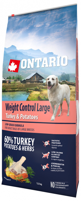Ontario Large Weight Control Turkey & Potatoes 12kg  + 6x konzerva ZDARMA
