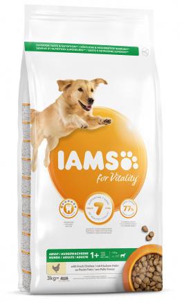 IAMS Dog Adult Large Chicken 3kg + kuřecí kostky ZDARMA